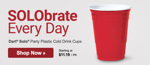 Solobrate Every Day. Get great buys on Solo® Party Cups and other disposables, plus savings on more workplace essentials.