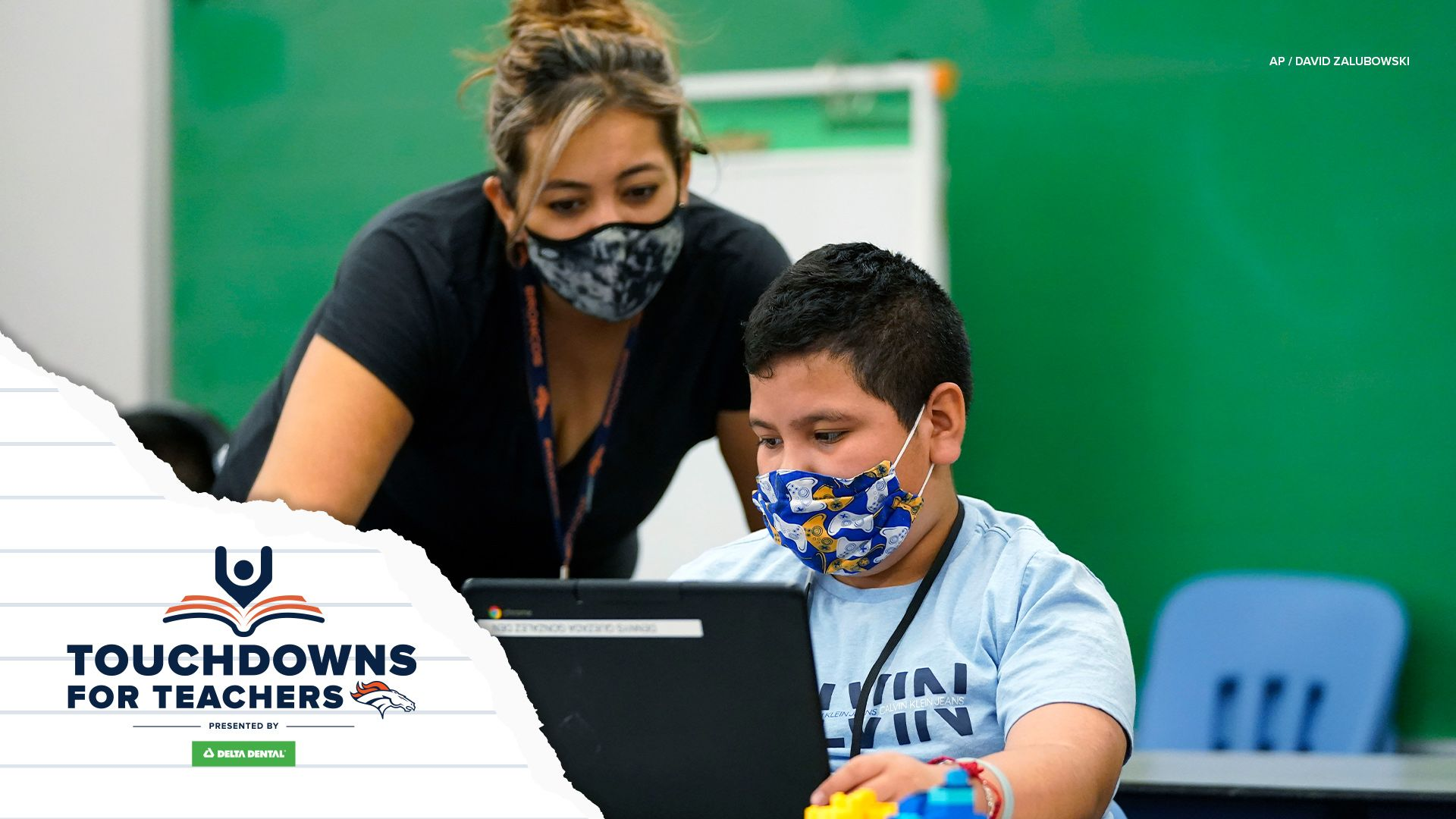 Touchdown for Teachers promo image of a teacher working with a student
